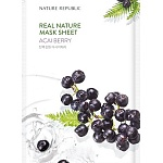 Маска для лица листовая с ягодами асаи REAL NATURE ACAI BERRY MASK SHEET 23гр